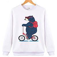 Джемпер ВЕДМІДЬ на велосипеді дитячий білий