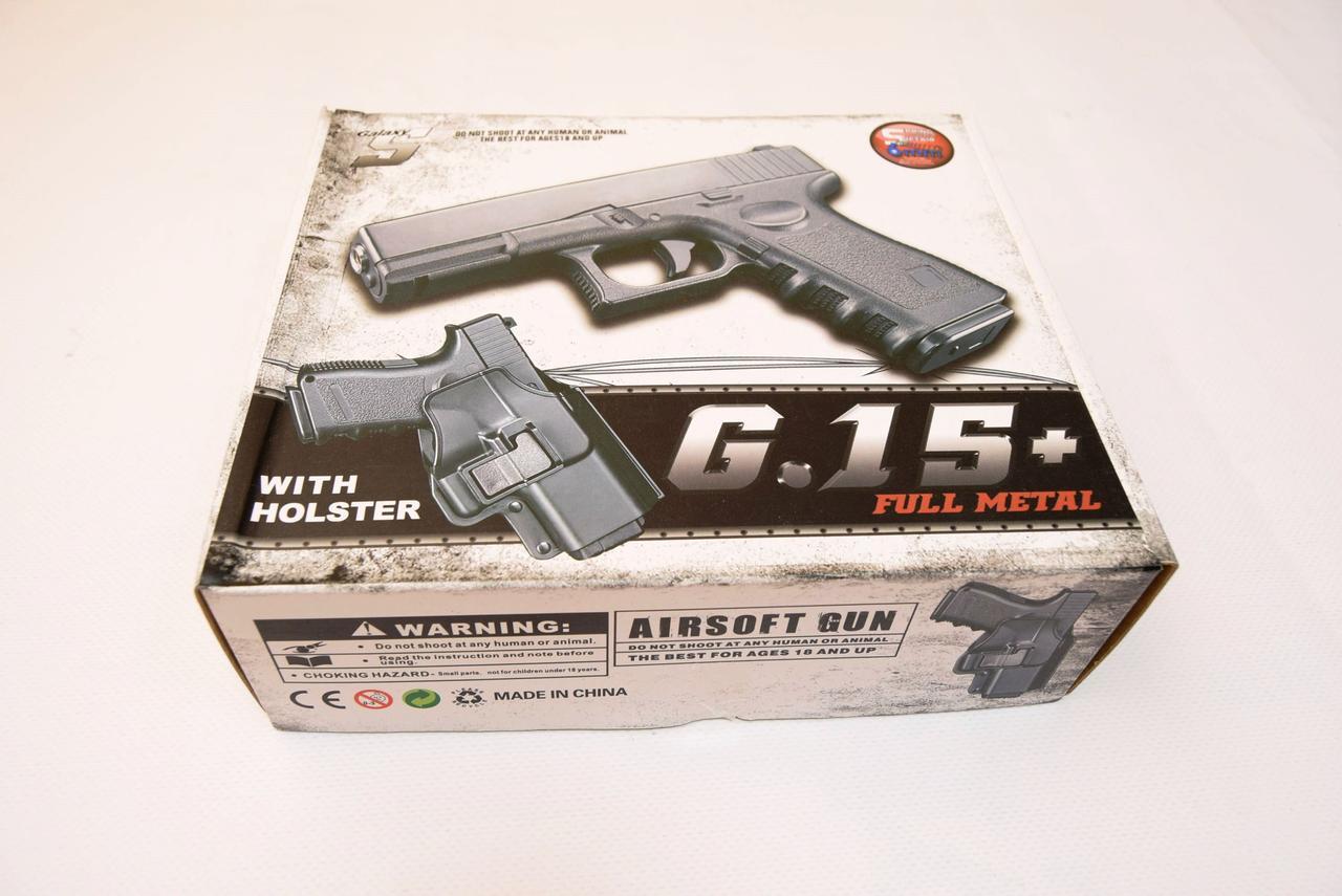 Игрушечный страйкбольный пистолет Galaxy G.15+ Глок 17 Glock 17 с кобурой