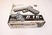 Игрушечный страйкбольный пистолет Galaxy G.15+ Глок 17 Glock 17 с кобурой, фото 1