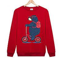 Джемпер МЕДВЕДЬ на велосипеде  детский красный