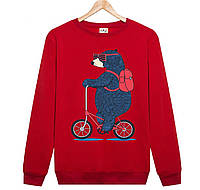 Джемпер ВЕДМІДЬ на велосипеді дитячий червоний