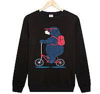 Джемпер МЕДВЕДЬ на велосипеде  детский черный