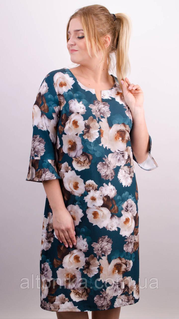 Оливия. Принтованное платье плюс сайз. Изумруд. 50-52, 54-56