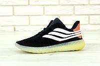 """Кроссовки мужские Adidas Sobakov """"Черные с белыми полосками"""" р. 41-45, фото 1"""