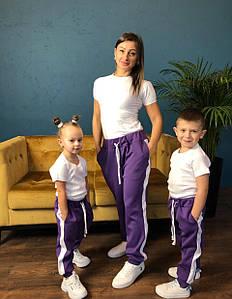 Штаны мама/дочка/сын, с лампасами. Ткань дайвинг, размер дочка/сын 86-92, 98-104, 110-116