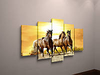 Фотокартина модульная лошади холст