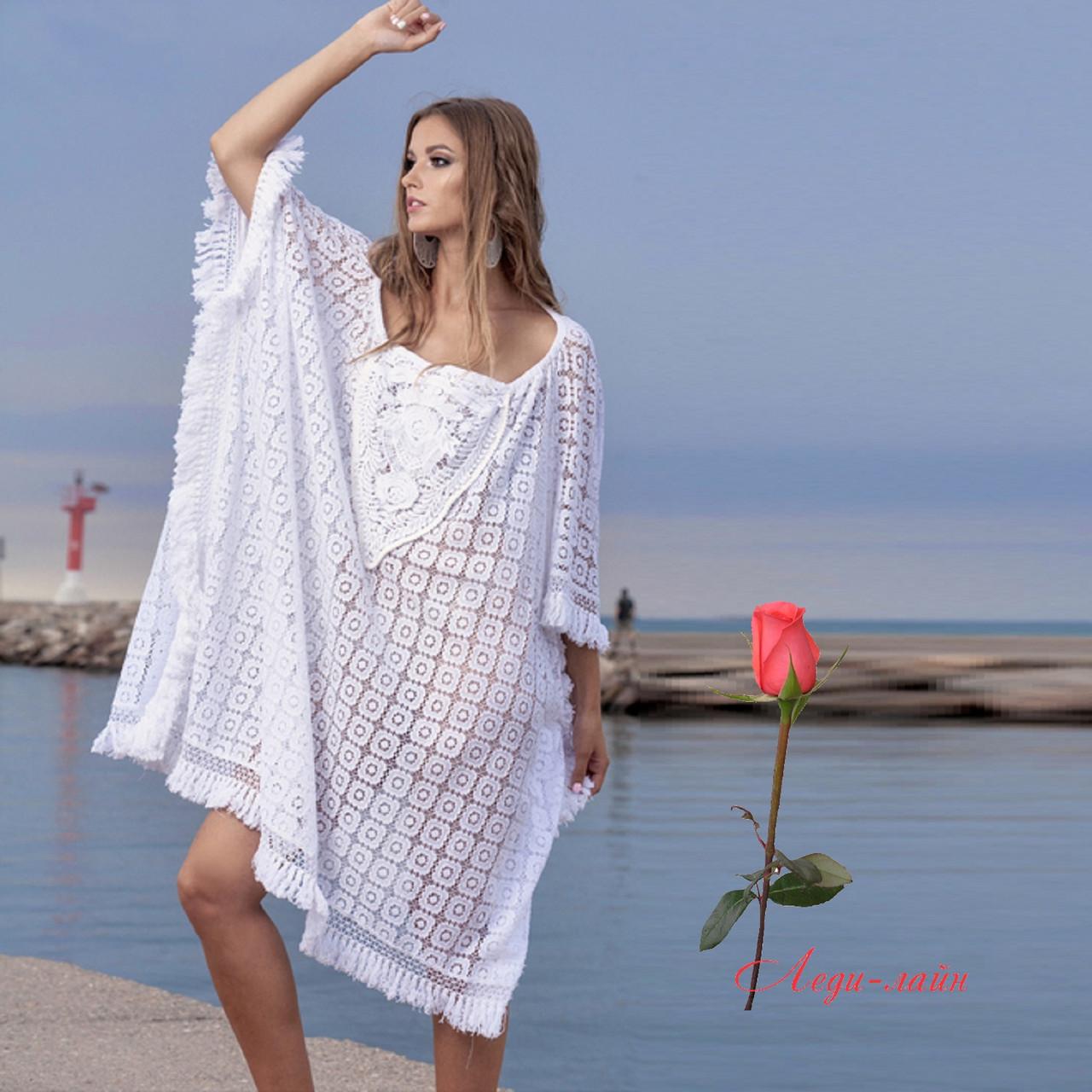 baaa28cd3773 Белая туника для пляжа из натурального хлопка 1325