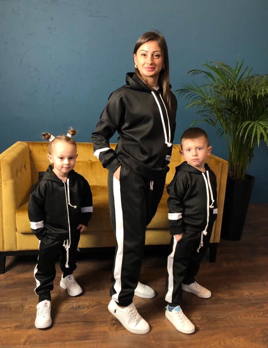 Костюм спортивный мама/дочка/сын. Ткань дайвинг, размер мама С-М, М-Л