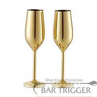 Металлический бокал для шампанского золотого цвета 220 мл, (набор из 2 шт.) BarTrigger