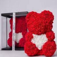 Медведь из цветов Teddy Bear Мишка с сердцем из искусственных роз 40 cм в подарочной упаковке Красный, фото 1