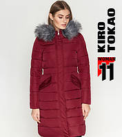 11 Kiro Tokao | Длинная женская куртка 8606 бордовая 50 52 54 размеры