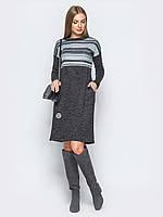 Платье с яркими горизонтальными полосами  Modniy Oazis голубой 90329/1, фото 1