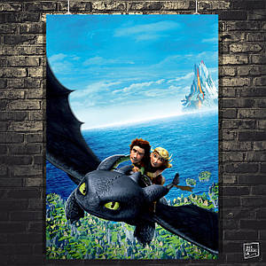 Постер Иккинг и Астрид на Беззубике. Как приручить дракона, How to Train Your Dragon. Размер 60x43см (A2). Глянцевая бумага