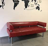 Диван из кожзама для офиса Тонус красный, фото 1