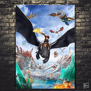 Постер Как приручить дракона 3: Скрытый Мир, How to Train Your Dragon 3. Размер 60x43см (A2). Глянцевая бумага