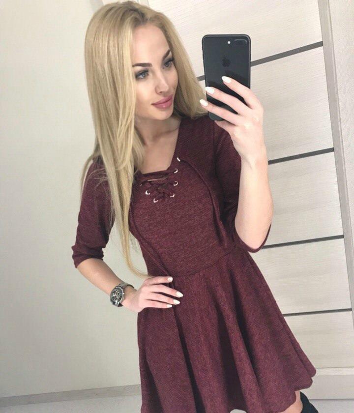 """Молодежное платье из ангоры """"Ivanna"""" Бордовый"""
