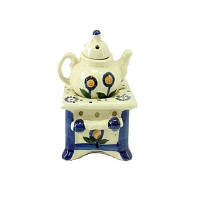 Аромалампа Чайник на подставке, керамика, бежевый/синий