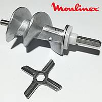 Шнек и нож для мясорубок Moulinex SS-989843 (с уплотнительным кольцом)