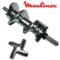 Шнек для мясорубки Moulinex SS-989487 (с уплотнительным кольцом) L=128 в комплекте с ножем