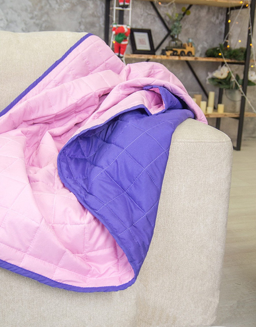 Покрывало Вилюта Дуэт стеганное микрофибра фиолетовый/розовый 210*220