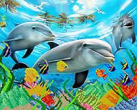 """Схема на ткани для вышивки """"Дельфины"""""""