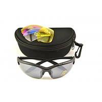 Вело очки Черные 3 сменные линзы Spelli , фото 1