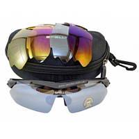 Солнцезащитные велоочки Черные 5 линз, фото 1