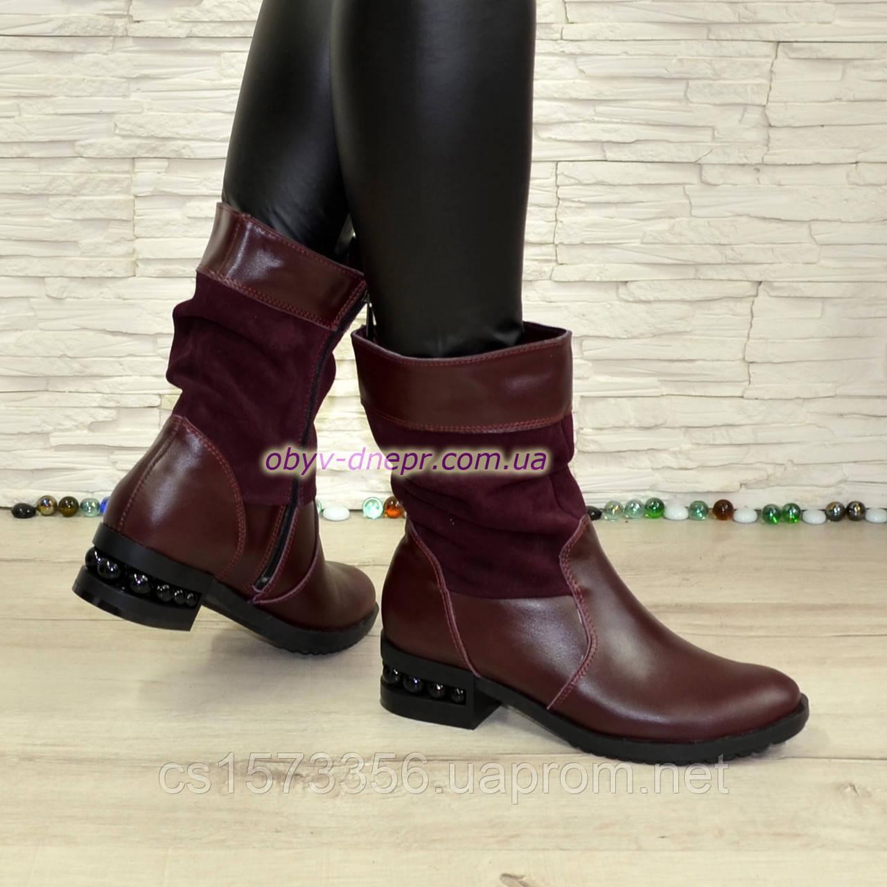Ботинки женские зимние комбинированные на устойчивом каблуке
