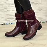 Ботинки женские зимние комбинированные на устойчивом каблуке, фото 2