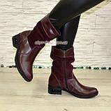 Ботинки женские зимние комбинированные на устойчивом каблуке, фото 3