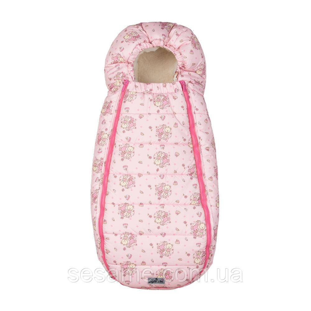 Конверт-Кокон на овчине Baby XS ДоРечі Розовый (Медведик и Мышка)