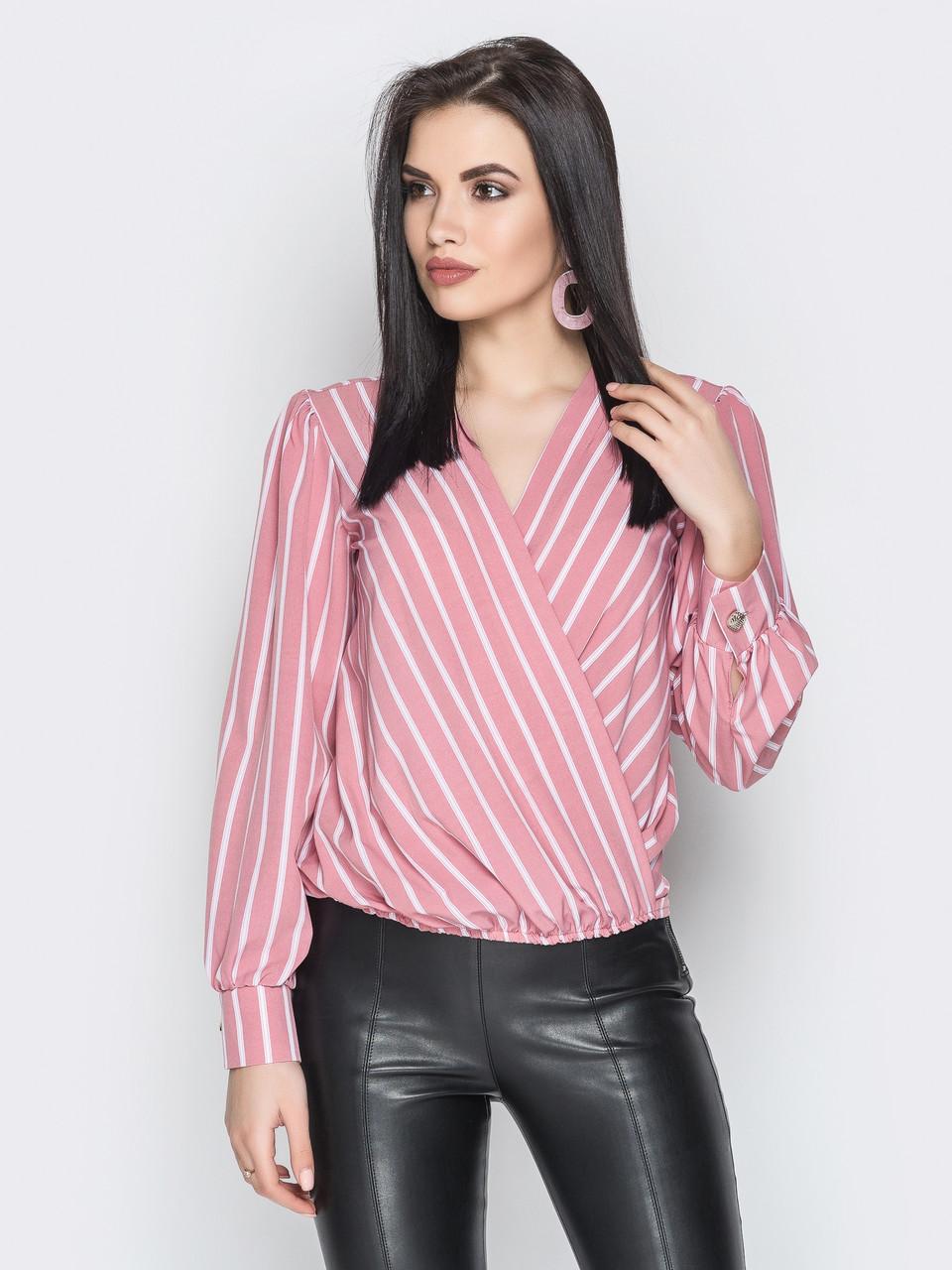 7ff56e5ed57 Купить Женскую блузу на запах с рукавом фонариком 413215 недорого в ...