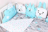 Комплект в кроватку с подушками игрушками и бортиком косичкой