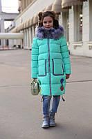 Пальто детское зимнее Рейни ТМ Nui Very Размеры 116 Цвет - мятный