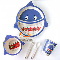 Детская бамбуковая посуда Акула набор из 5 предметов UFTBP2