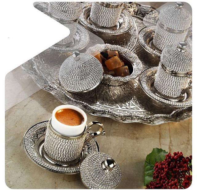 Набор чашек для кофе в стразах Серебристый на 6 персон