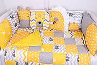 Комплект в дитяче ліжечко з тваринками жовто-сірих тонах, фото 2