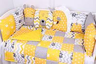 Комплект в дитяче ліжечко з тваринками жовто-сірих тонах, фото 3