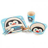Детская бамбуковая посуда Пингвинчик набор из 3 предметов UFTBP5