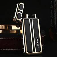 Електроімпульсна USB запальничка Чорна з золотистим, фото 1