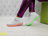 Кроссовки высокие сникерсы форсы белые с светящейся подошвой подсветкой Led 63e2f81daed6a