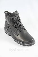 Зимние кожаные мужские ботинки на шнурках, утепленные мехом