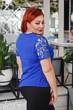 Красивая женская блуза без рукав с кружевом 4 расцв. 42-56р, фото 6