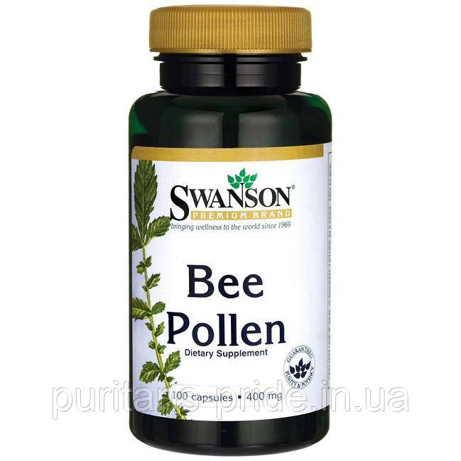 Бджолиний Пилок, Bee Pollen, Swanson, 400 мг, 100 капсул
