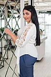 Красивая женская блуза с кружевом 4 расцв. 42-56р, фото 2