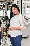 Красивая женская блуза с кружевом 4 расцв. 42-56р, фото 3