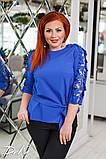 Красивая женская блуза с кружевом 4 расцв. 42-56р, фото 6