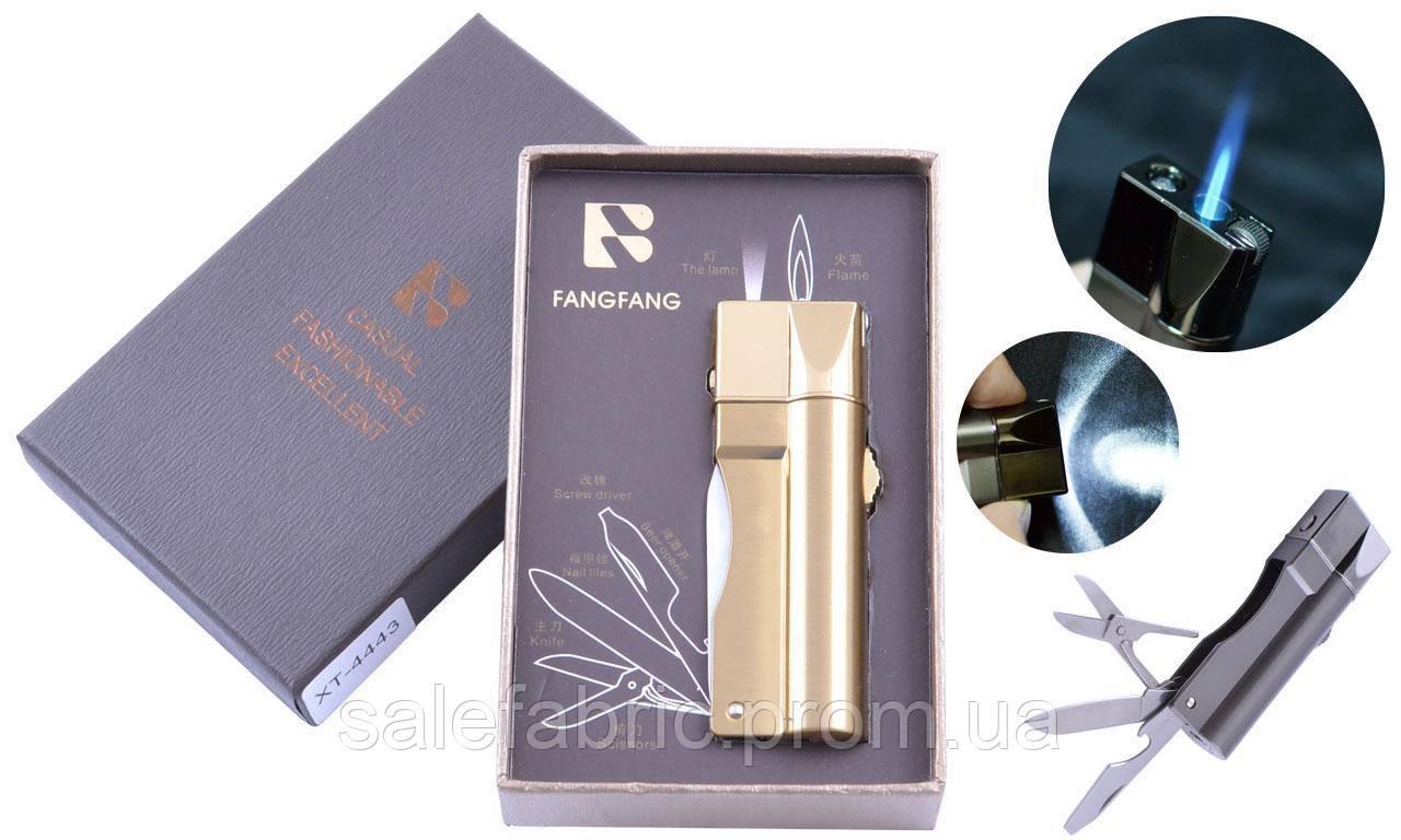 Зажигалка подарочная Fang Fang (Острое пламя, нож, фонарик) №4443 Gold