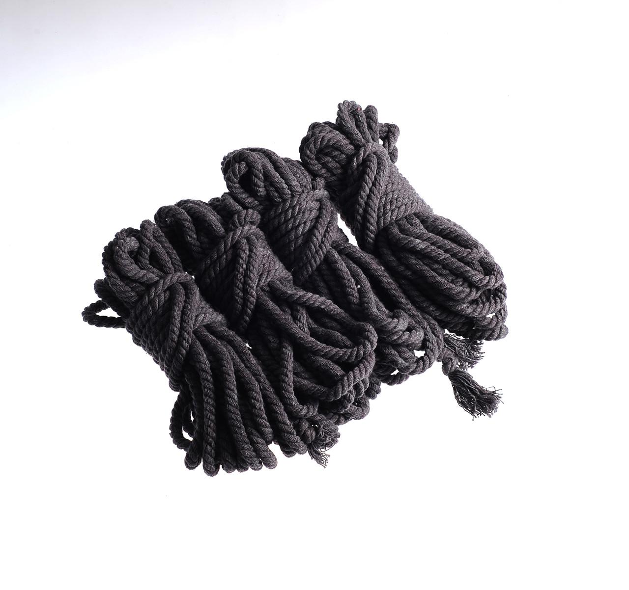 Набор веревок для бондаж 4х8м. 6мм, хлопок.черный