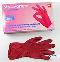 Перчатки нитриловые StyleGrape(Ampri), бордовые, размер«M», 50пар/упак.